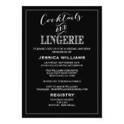 Cocktails & Lingerie Shower Invitations | Black