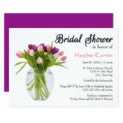 Colorful Tulips In Vase - Bridal Shower Invite