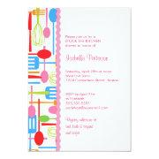 Cooking Utensils Stock the Kitchen Bridal Shower Custom Invitations