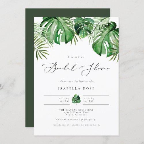 Cora- Tropical Beach Palm Leaf Bridal Shower Invitation
