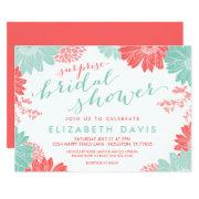 Coral And Mint Floral Surprise Bridal Shower Invitations