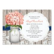 Coral And Navy Hydrangea Mason Jar Bridal Shower