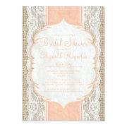 Coral Linen Burlap Lace Bridal Shower Invitations Custom Invites