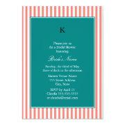 Coral Pink And White Stripes , Teal Bridal Shower