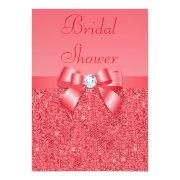 Coral Pink Printed Sequins & Diamond Bridal Shower