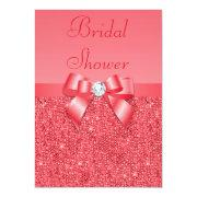 Coral Pink Printed Sequins & Diamond Bridal Shower Custom Invitations