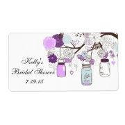 Country Rustic Mason Jar Bridal Shower Favor Label