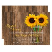 Country Sunflower Mason Jar Bridal Shower Invites