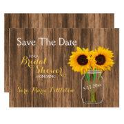 Country Sunflower Mason Jar Save The Date
