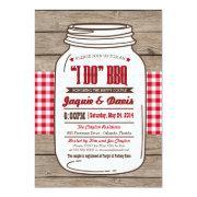 Couples Shower Bbq Invitations In Mason Jar On Wood