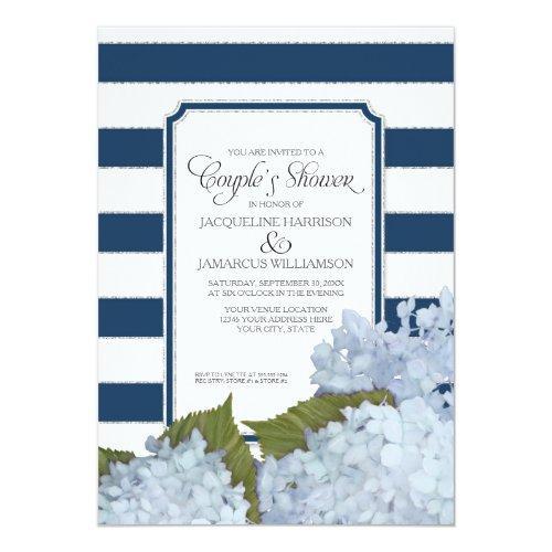 Couples Shower Navy Blue Hydrangea Script Art Deco Invitations