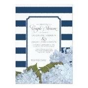 Couples Shower Navy Blue Hydrangea Script Art Deco