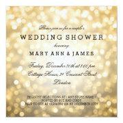Couple's Wedding Shower Gold Glitter Lights