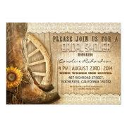 cowboy shoes sunflowers wood bridal shower invites