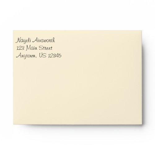 Cream Plain Simple A6 4x6 Return Address Envelopes