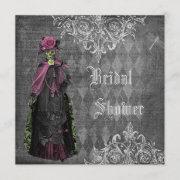 Creepy Halloween Bride Shabby Chic Bridal Shower Invitation