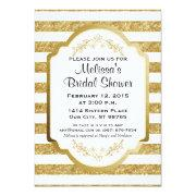 Custom Bridal Shower Invitation, Gold Stripes