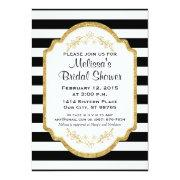 Custom Bridal Shower Invite, Black Stripes, Gold