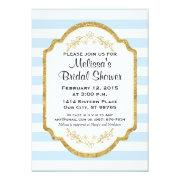 Custom Bridal Shower Invite, Blue Stripes, Gold