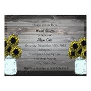 Customizable Sunflowers in Mason Jars Invite