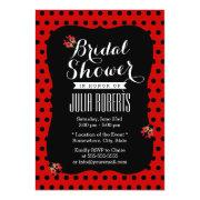 Cute Black & Red Dots Ladybugs Bridal Shower Cards