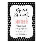 Cute Black & White Polka Dots Bridal Shower Invitation