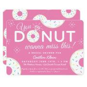 Cute Donut Bridal Shower Invitations | Pink