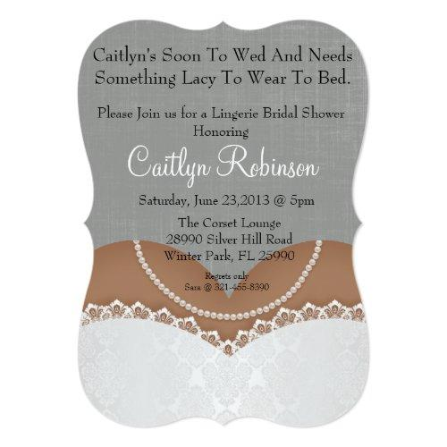Cute Lace Bra Lingerie Bridal Shower Invitation