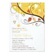 Cute Love Birds Autumn Bridal Shower Invitation