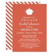 Cute Potluck Bridal Shower | Orange White Invitation
