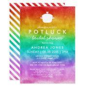 Cute Potluck Lesbian Bridal Shower | Rainbow Ombre Invitation