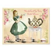 Cute Vintage Alice in Wonderland Bridal Shower Personalized Invites