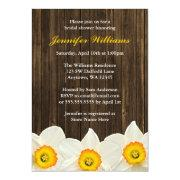 Daffodil Barn Wood Bridal Shower Invite