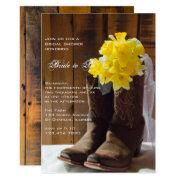 Daffodils And Cowboy Boots Western Bridal Shower Invitation