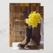Daffodils And Cowboy Boots Western Bridal Shower Invitation