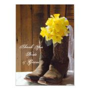 Daffodils Cowboy Boots Western Wedding Thank You