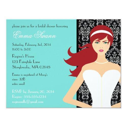 Damask Tiffany Blue Bridal Shower [redhead Bride] Invitations