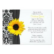 Damask Yellow Sunflower Recipe Bridal Shower Personalized Announcement