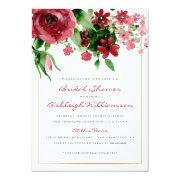 Deep Red Watercolor Rose Bridal Shower