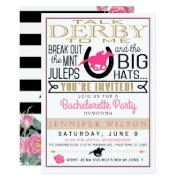 Derby Bachelorette Black/gold/pink Roses Custom