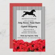 Derby Bridal Shower Red Roses Racehorse Invitation
