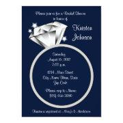 Diamond Ring Bridal Shower Invitation Navy Blue