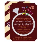 Diamond Ring Burgundy Silver Glamor Bridal Shower Invitation