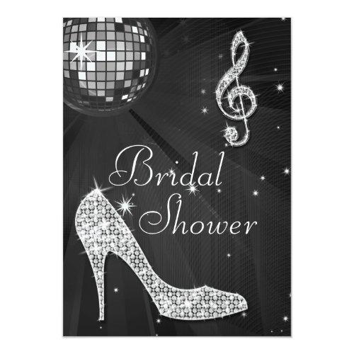 Disco Ball And Sparkle Heels Black Bridal Shower Invitations
