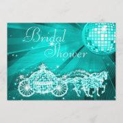 Disco Ball, Princess Coach & Horses Bridal Shower Invitation
