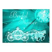 Disco Ball, Princess Coach & Horses Bridal Shower Custom Invite