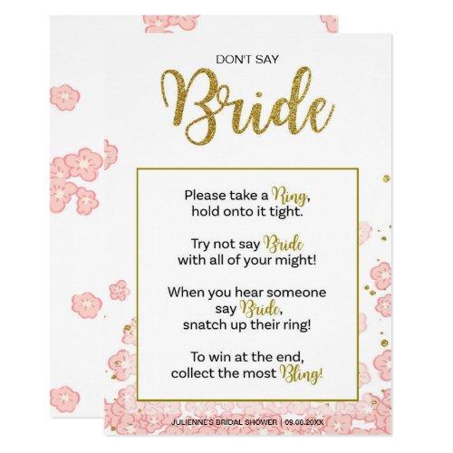 Don't Say Bride Bridal Shower Ring Game | Pink Gol