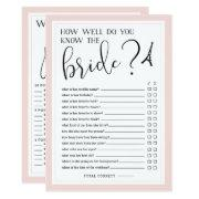 Double-sided Bridal Shower Game Invitations