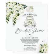 Drive By Bridal Shower Invitation White Floral