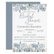 Dusty Blue Botanical Bridal Shower Invitations